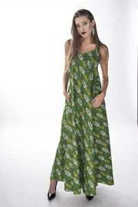 African Print Green Full Length Dress