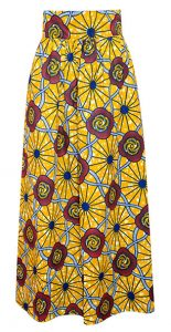 African Print Full Length Yellow Skirt with Floral Patterns