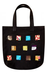 Shopping bag with patchwork design