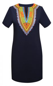 Short Dress with Dashiki Print Design