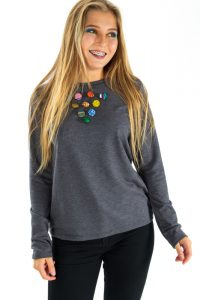 Grey T-Shirt with African Print Buttons