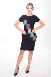 Black Short Dress with African Print Patchwork