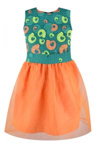 Orange/Green African Print Dress